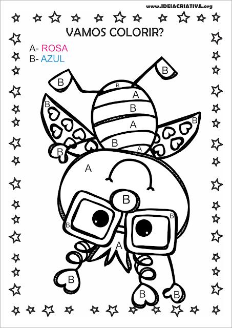 Atividade letras A e B com desenho de Joaninha super fofa