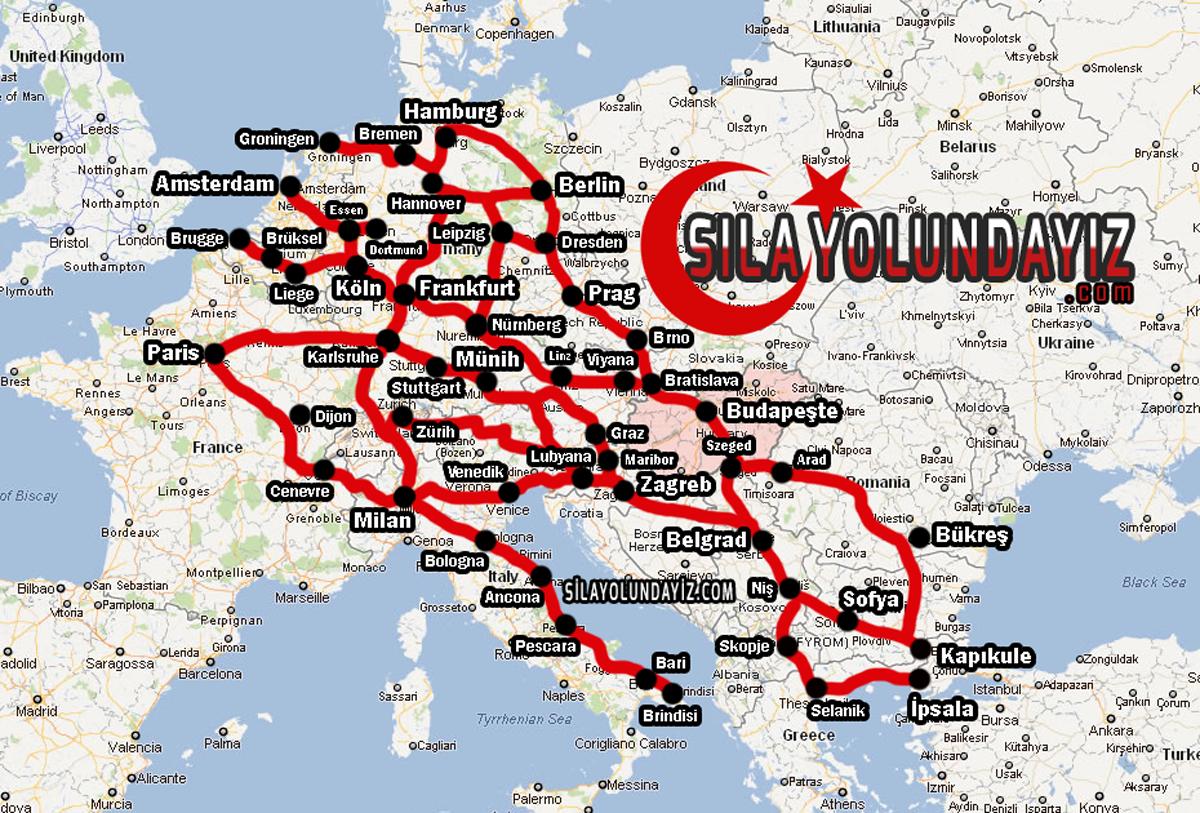 2018 Hollanda ve Belçika'dan Türkiye'ye Sıla Yolu Haritası