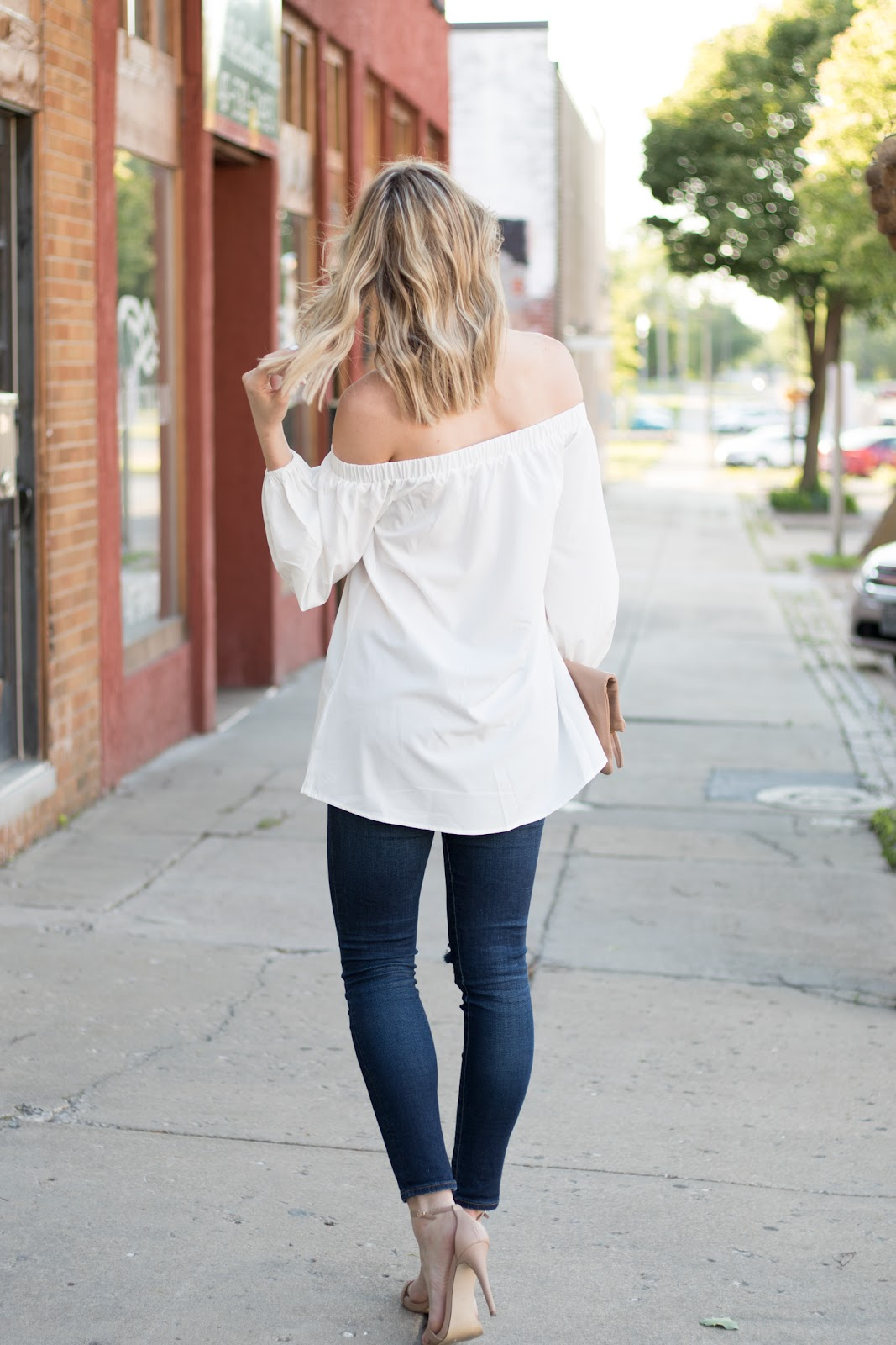 Off the shoulder top with jeans