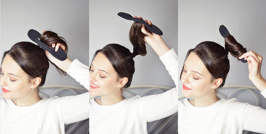 duży kok z cienkich i krótkich włosów akcesoria do koka