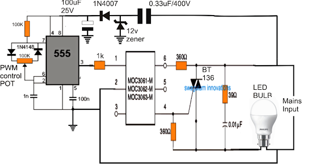 Dimmer Circuit for LED Bulbs ~ Electronic Circuit Projects