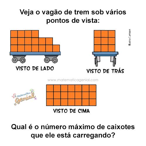 Veja o vagão do trem sob vários pontos de vista: Qual é o número de caixotes que ele está carregando?
