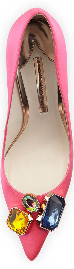 Sophia Webster Lola Gem Satin Pump, Hot Pink