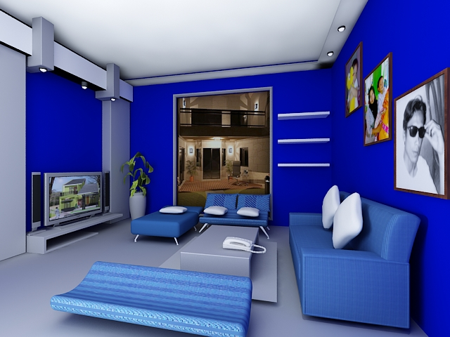 Dekorasi Ruang Tamu Berwarna Biru