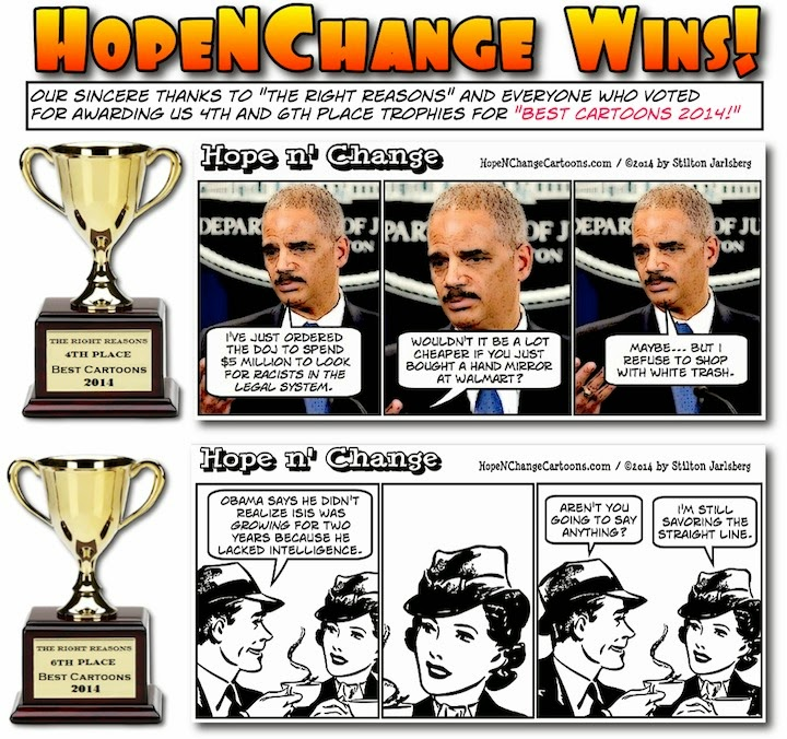 obama, obama jokes, political, humor, cartoon, conservative, hope n' change, hope and change, stilton jarlsberg, right reasons, best cartoons 2014