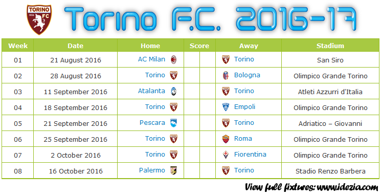 Download Jadwal Torino FC 2016-2017 File JPG - Download Kalender Lengkap Pertandingan Torino FC 2016-2017 File JPG - Download Torino FC Schedule Full Fixture File JPG - Schedule with Score Coloumn
