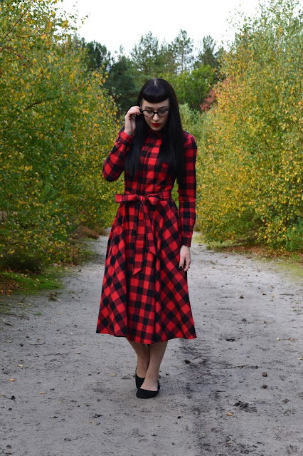 COLLECTIF MAINLINE MARA CHECKED SHIRT DRESS