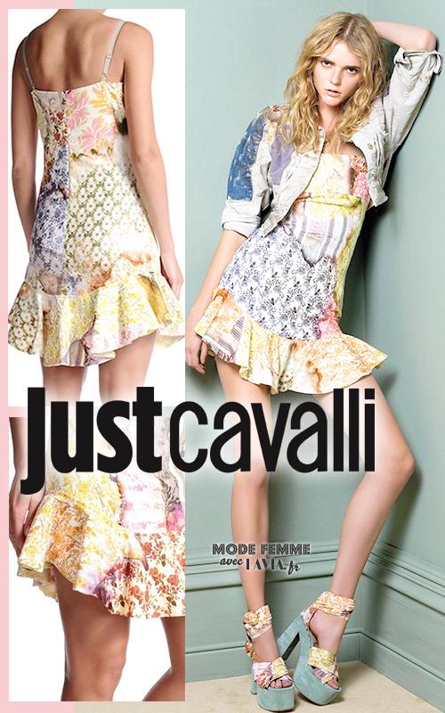 Robe courte d'été colorée avec motifs à fleurs JUST CAVALLI