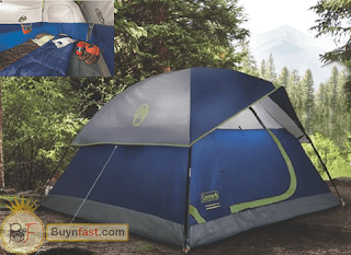 """Exclusive"" 4 Person Tent by Coleman available in Green and Navy Color Patterns"