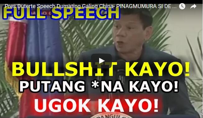 Pres Duterte Speech Dumating Galing China- PINAGMUMURA SI DE LIMA, AMERICA PATI EU!