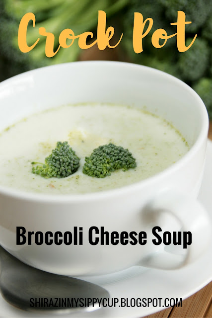 One of my favorite soups to make during the cooler months is my crock pot broccoli cheese soup. This soup is so delectable and so easy to make. How easy you ask? How about only 4 ingredients, 15 minute prep time, cooks for 5 hours on its own easy. You can't get much better than that! Plus, I think this recipe is pretty versatile; if you want to switch it up, you can. I know people who've added things like bacon bits, veggies, ham, etc. to this soup and it is delicious!