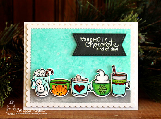 Hot chocolate Card by Larissa Heskett | Cup of Cocoa Stamp set and Frames & Flags Die Set by Newton's Nook Designs #newtonsnook #handmade