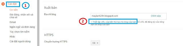 Cấu hình tên miền vào blogger