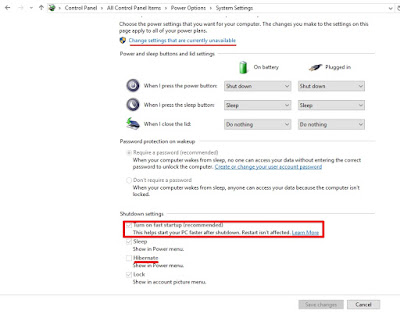 Menonaktifkan Fast boot untuk mengatasi boot lambat windows 10