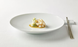 Source: The Shilla Seoul. La Yeon's chilled pen shell salad with yuzu garlic sauce.