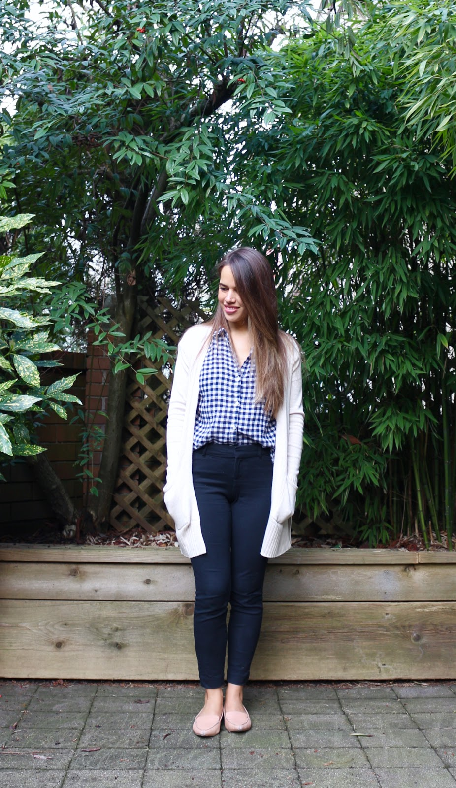 Jules in Flats - Gingham Top with Open Front Sweater (Business Casual Spring Workwear on a Budget)