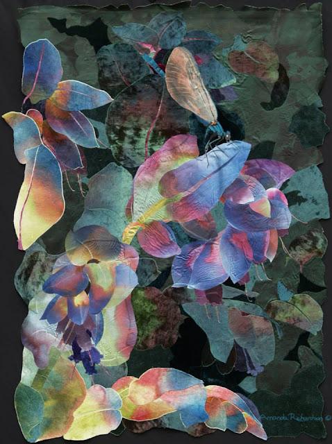 obrazy kolaze tekstylne