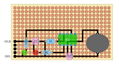 MCP73831 LiPo charger perfboard diagram