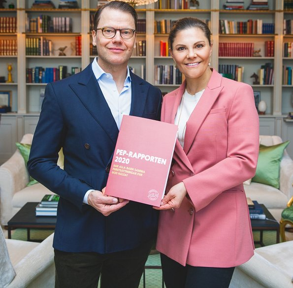 Crown Princess Victoria wore Rodebjer Nera pink blazer. Generation Pep founded by the Swedish Crown Princess couple