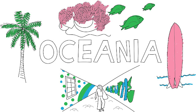 oceania illustration with palm tree, coral reef and fish, surfboard and Melbourne street art