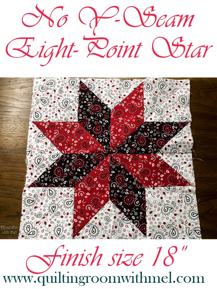 Large No Y-Seam Eight-Point Star Quilt Block Video