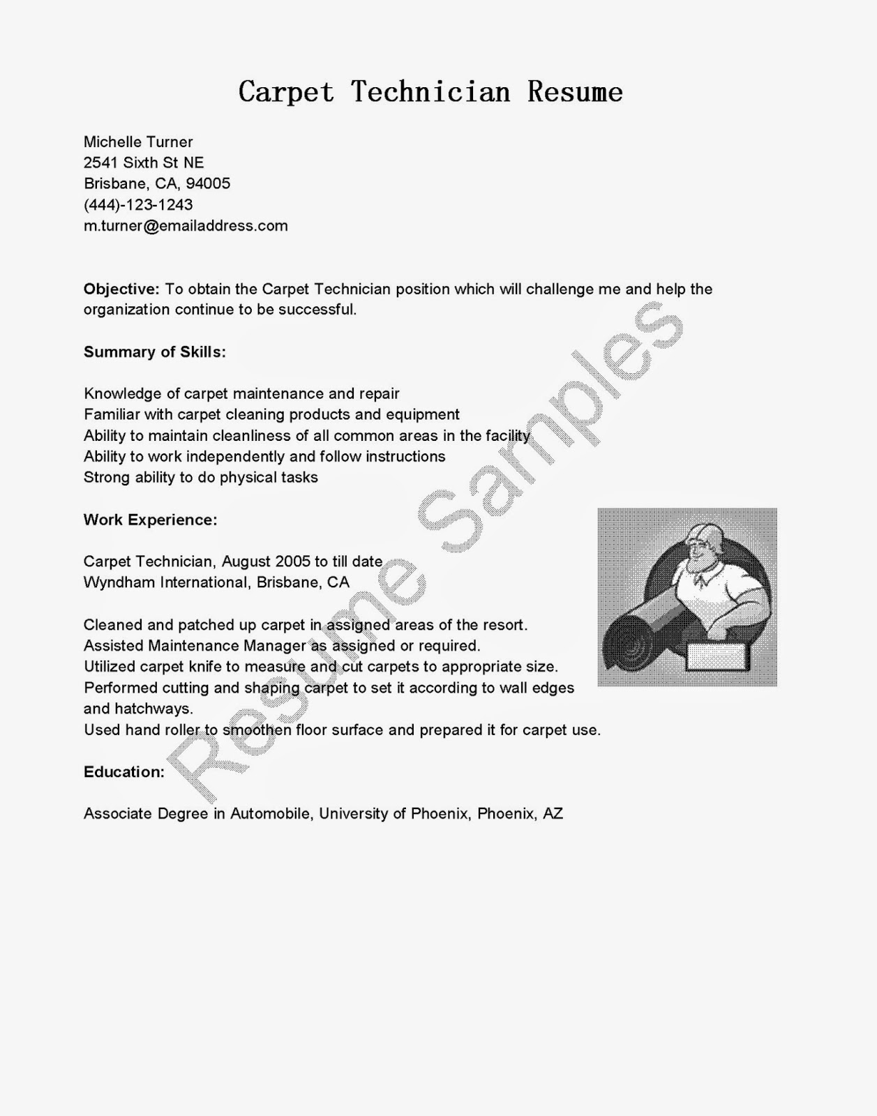 Sample Carpet Cleaner Resume
