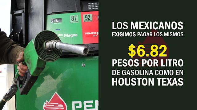 Llaman a boicotear gasolineras de PEMEX y a pagar sólo 6.82 pesos por litro como en Texas. ¿Yo estoy de acuerdo y tu?