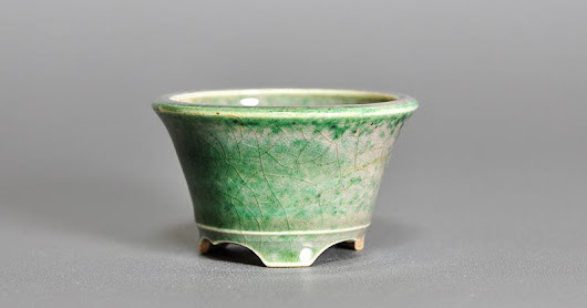 織部釉丸盆栽鉢 Oribe glaze bonsai pot