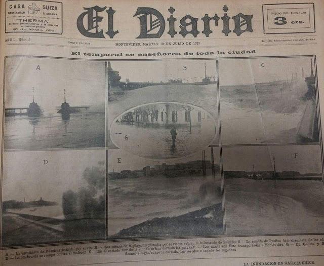 Noticia en periódico El Diario del Temporal 1923