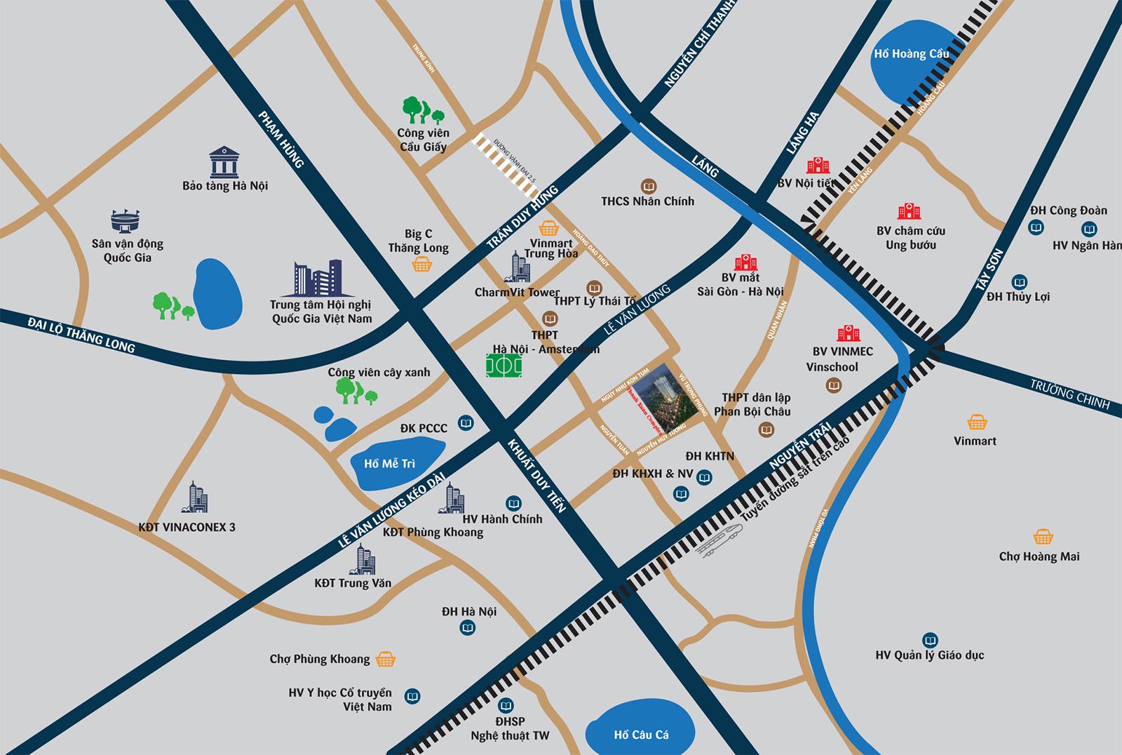 Vị trí dự án chung cư Thanh Xuân Complex