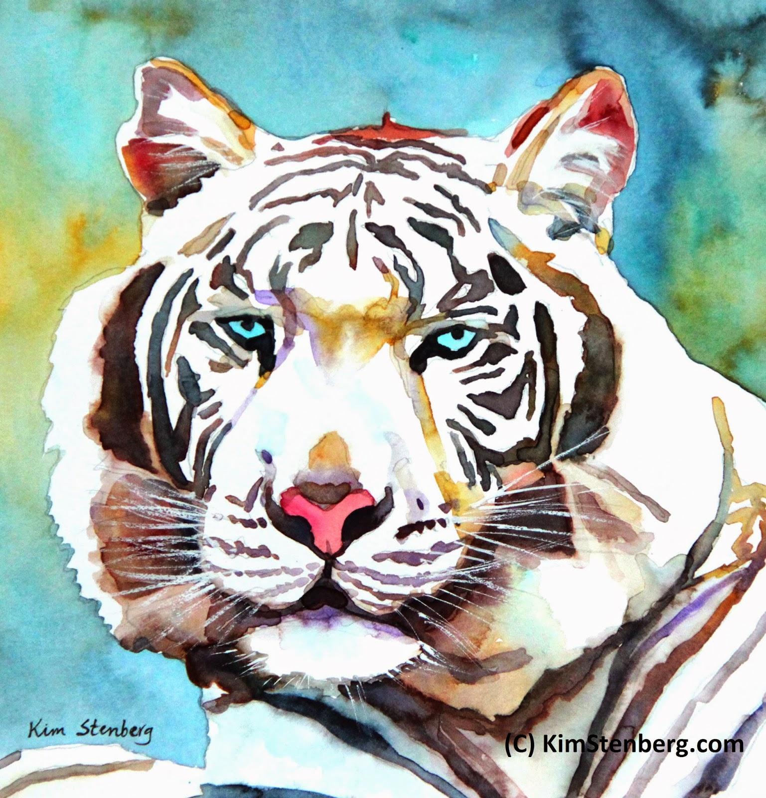 """Kim Stenberg's Painting Journal: """"White Tiger"""" (watercolor"""