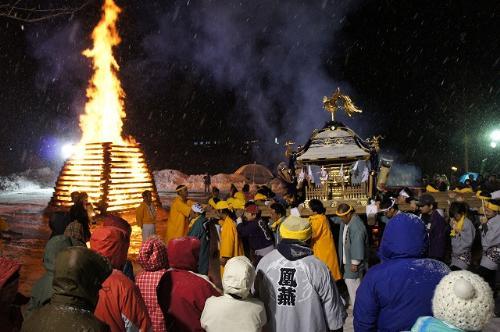 Koshimoto Goshinbisai (Fire Festival) at Katashina Village, Gunma Pref.