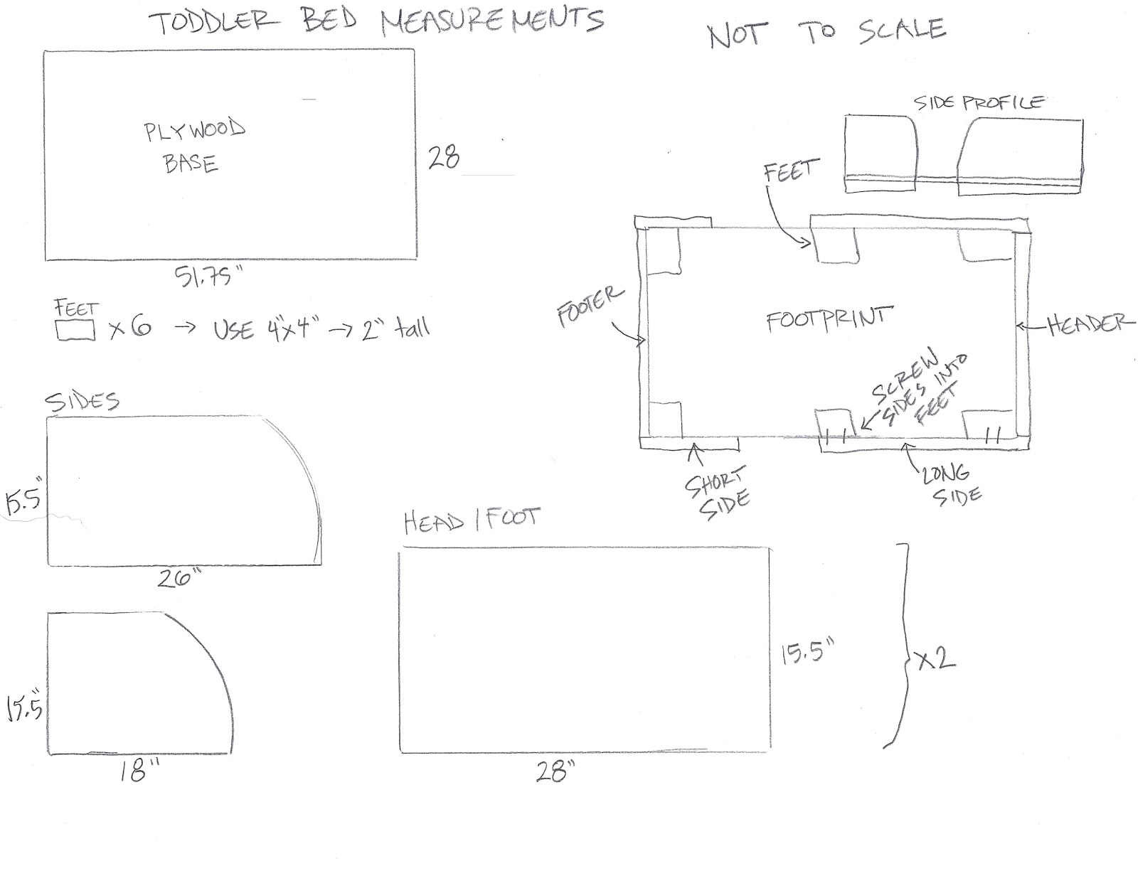 Here Is A Little Sheet With The Measurements That We Used Please Note This Bed Fits Standard Sized Crib Mattress Room On All Sides For