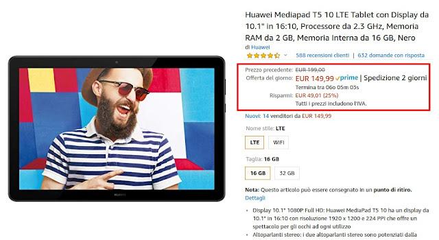 Offerta Amazon: Huawei MediaPad T5 10 LTE in offerta a 149 euro