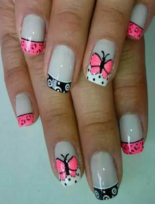 decoracion de uñas con mariposas sencillas
