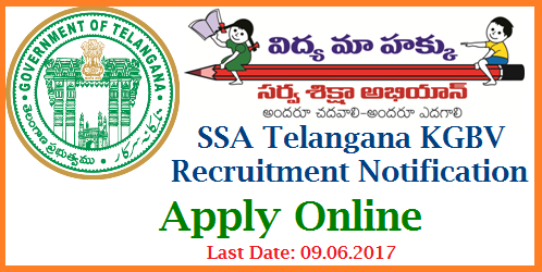 KGBV Schools SOs CRTs Recruitment Online Application Form Download Hall Ticktes Results @saa.telangana.gov.in Telangana Kasthurba Gandhi Balika Vidyalaya KGBV Schools Vacancies Recruitment Notification for Special Officers, Contract Residential Teachers Apply Online Dates Download of Hall Tickets Date of Examination | Eligible and Intended Women Candidates may submit Online Application Form for SOs and CRTs of TSSA KGBV Schools in Telangana at Sarva Shiksha Abhiyan Official web Portal ssa.telangana.gov.in which is going to be started on 06.06.2017 and Ends On 09.06.2017.  After Submission of Online Application form for Telangana KGBV Recruitment Notification for Special Officers and Contract Residential Teachers Online they mat Download Hall Tickets from SSA Website from 14.06.2017 for the Exam which is going to be held on 18.06.2017 kgbv-schools-special-officers-crts-recruitment-online-application-form-hall-tickets-results-ssa.telangana.gov.in-download