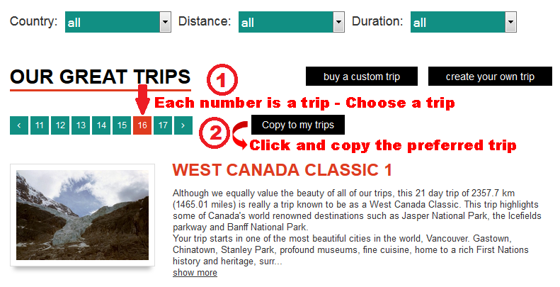 Choose the trip called 'West Canada Classic 1'