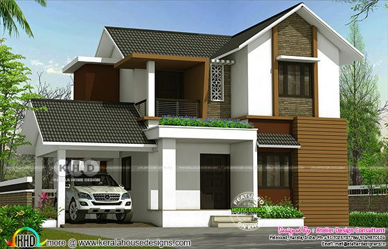 4 bedroom mixed roof modern home 2000 square feet