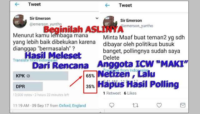 """Hasil Polling Tak sesuai Rencana, Anggota ICW """"Maki Netizen"""" Lalu Hapus Polling"""