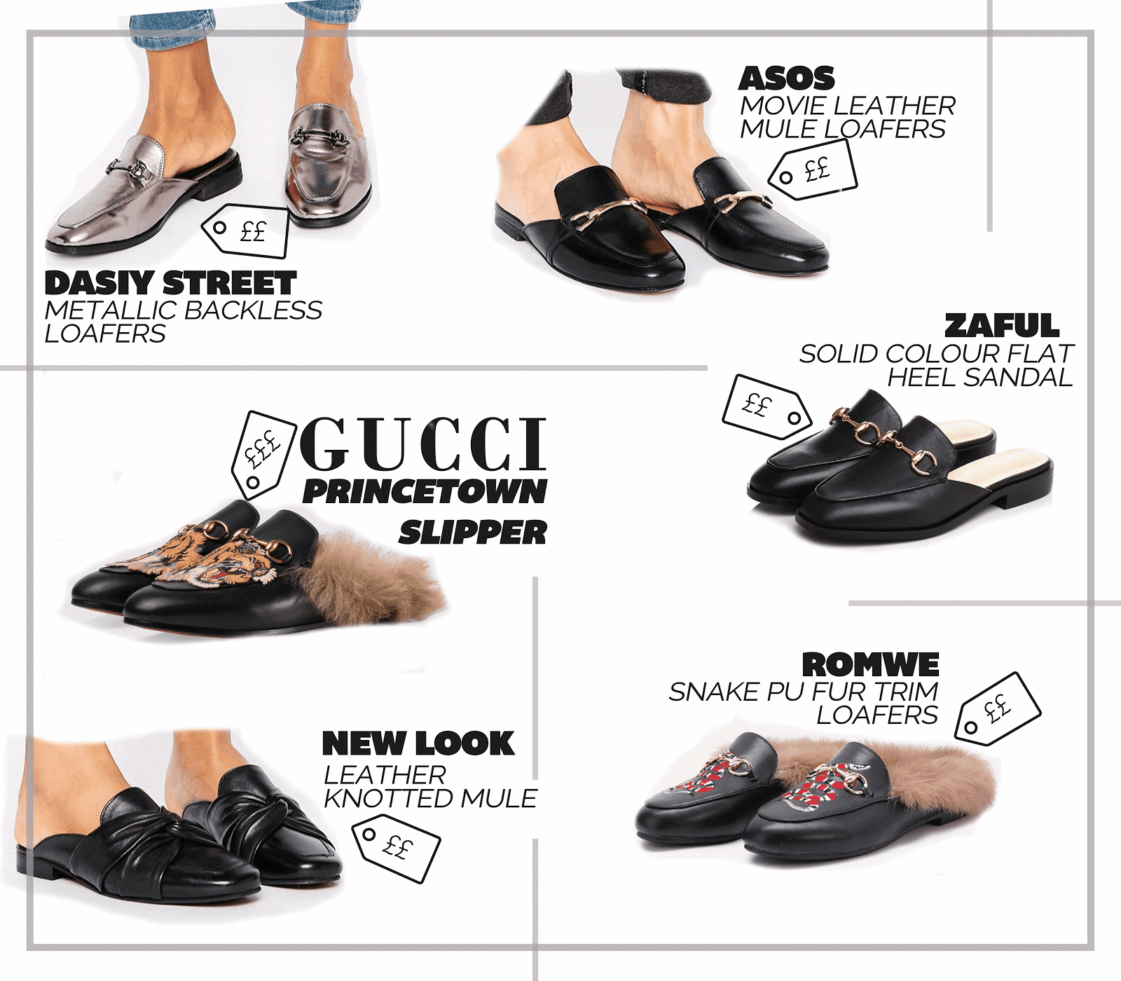 designer shoe dupe list gucci fur trim slippers best high street alternatives