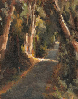 Landscape oil painting of a roadway bordered by trees, partly illuminated by sunshine.