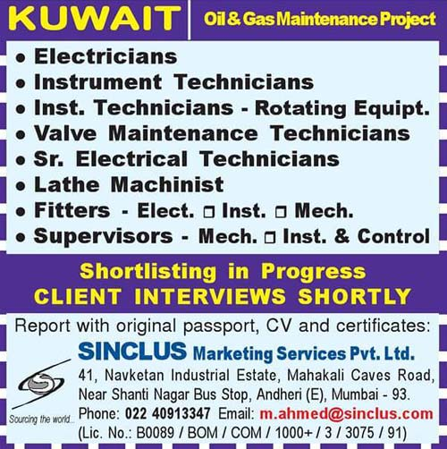 Kuwait Oil and Gas Maintenance Project Jobs Sinclus Marketing Services PVT LTD Mumbai