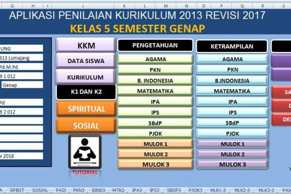 Aplikasi Penilaian Raport K13 Kelas 5 Semester 2 Sekolahdasar Net