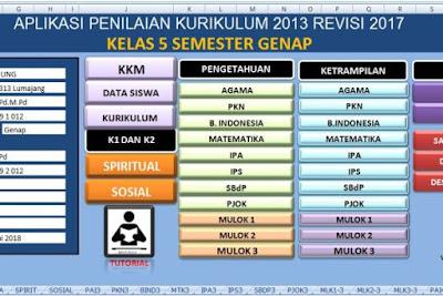 Aplikasi Penilaian Raport K13 Kelas 5 Semester 2