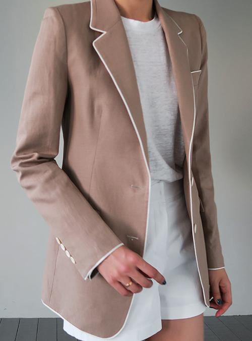 Contrast-Trimmed Jacket