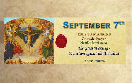 Giornata mensile di preghiera dei gruppi JTM (di tutto il mondo), 7 Settembre
