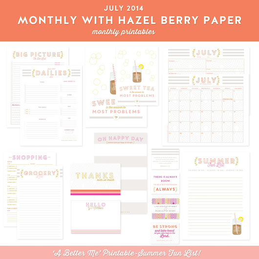 HBP Monthly Printables - July 2014