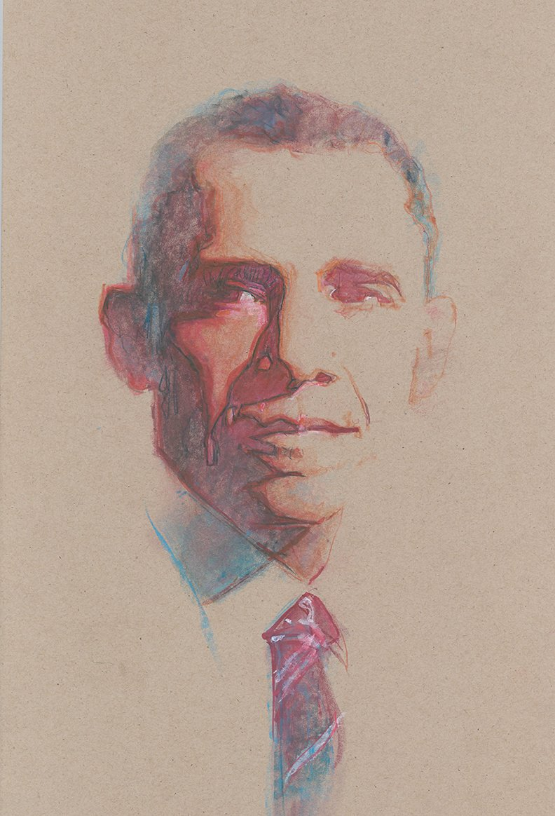 #POTUS Portrait variation, softer, more subdued, by Bill Sienkiewicz.