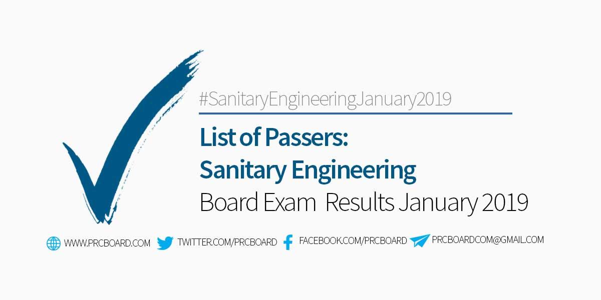 Sanitary Engineer Board Exam January 2019 List of Passers