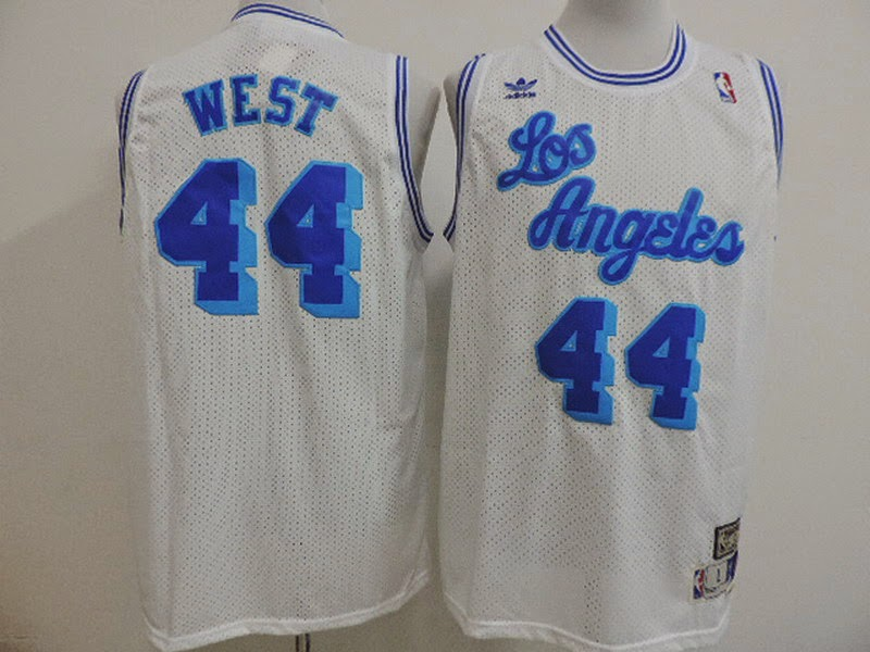 5180f36ac9d ... (19)LosAngeles Lakers 44 Jerry West white NBA jersey throwback ...